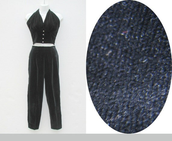 Vintage 50s Cigarette Pants / 50s Pants / Leggings / Black Velvet Pants / High Waist Pants / Capri Pants / Pin up / Emil of Ca / Size XXS