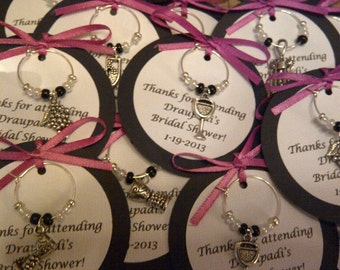 5-45 Custom Wine Themed Wine Charm Favors - Weddings, Bridal Shower, Rehearsal Dinner, Anniversary, Birthday, Dinner Party or Special Event
