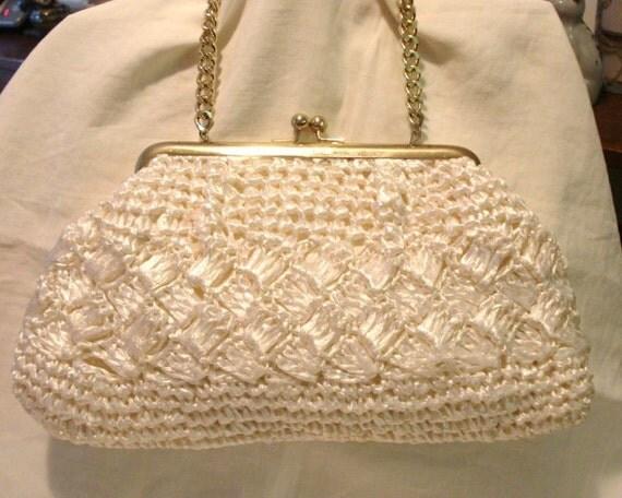 Artel Raffia Straw Crocheted Evening Bag Or Purse Chain Handle