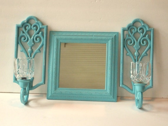 Mirror Sconces Wall Decor: Candle Sconces With Votive Holders And Mirror By MollyMcShabby