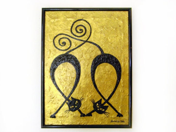 Original Acrylic Painting, CATS IN LOVE, Love Painting, Cats Painting, Ooak Gold Black Painting, Home Decor, Best Gift Ideas, Best Gift
