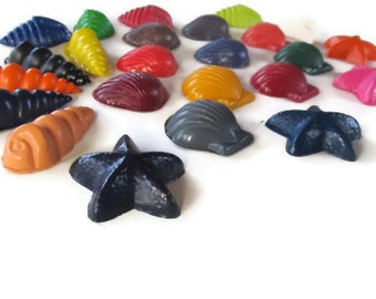 Seashell set of 24 crayons - sea life - shells - party favor - stocking stuffer - ocean life - crayons - gift