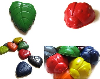 Lady Bug and Leaf Crayons set of 20 - party favors - recycled crayons