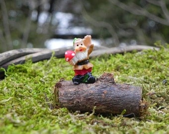 Fairy Garden Gnome on log - miniature for terrarium supplies - handcrafted miniatures - tiny gnome - wood slice - fairy garden accessories