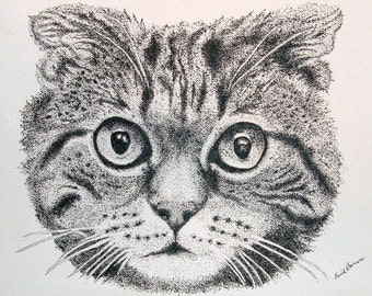 Cat Pen and Ink Pointillism Print