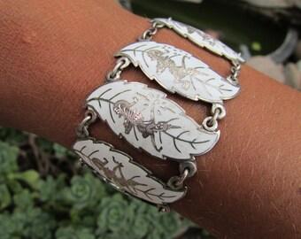 Vintage Siam Sterling Silver Bracelet Traditional Dancers