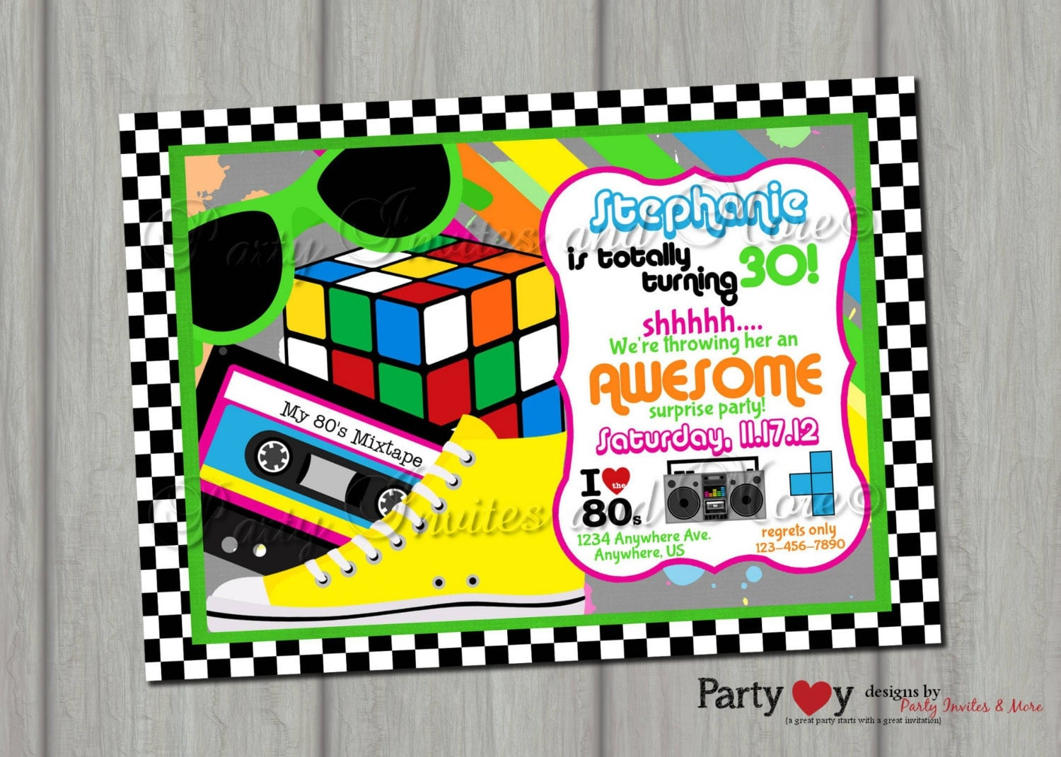 S Party Invites Haywardtoytv - 80s party invitation template