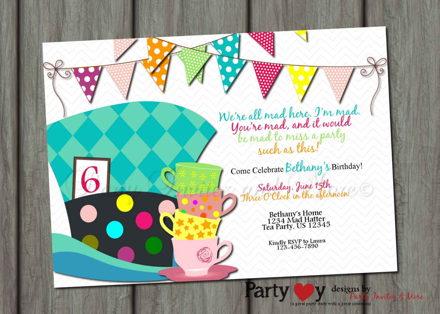 mad hatter Birthday Invitation Alice in by PartyInvitesAndMore