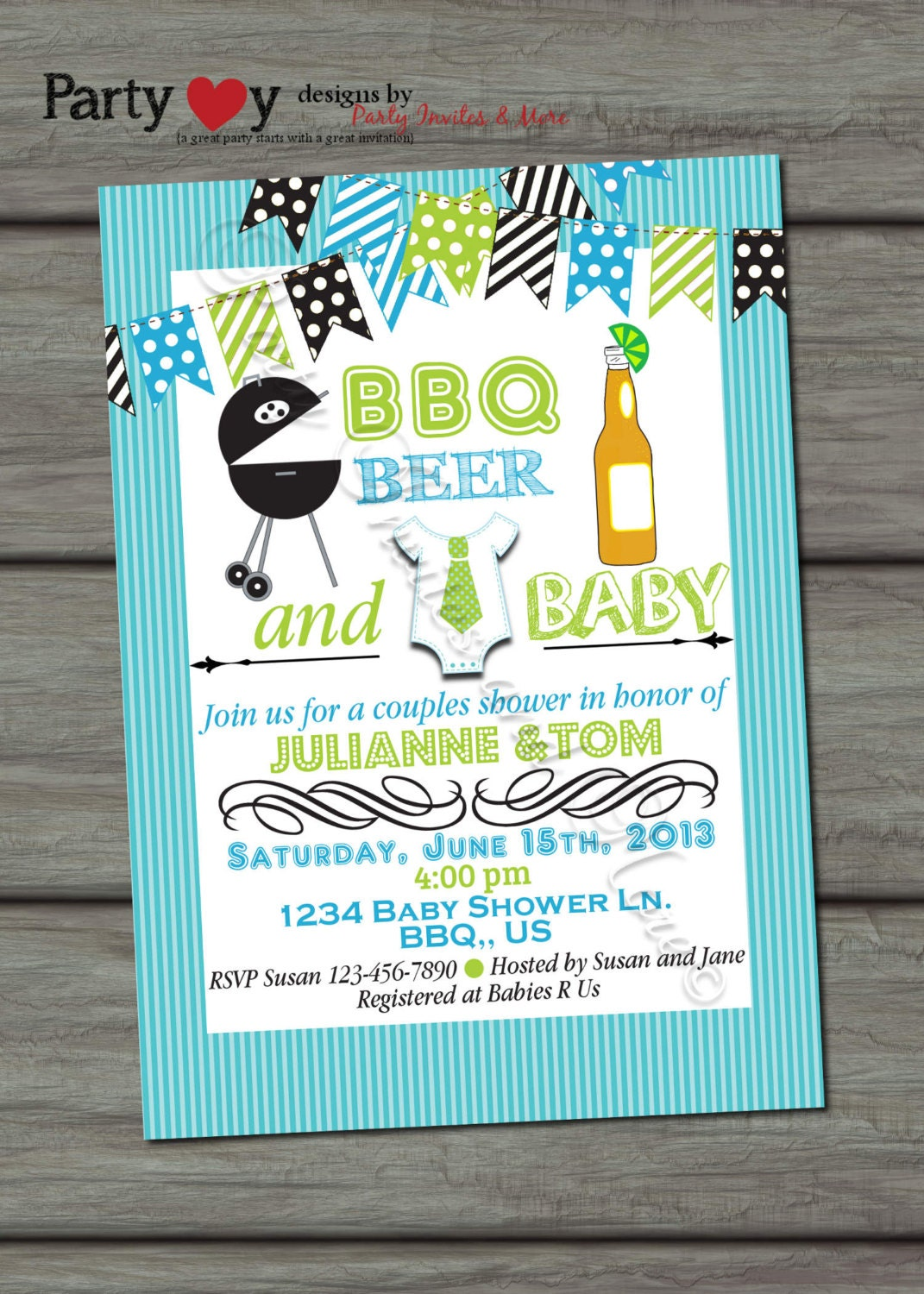 beer bbq and baby joint baby shower boy by partyinvitesandmore