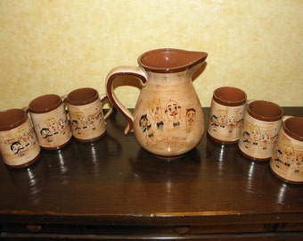 SALE PRICE REDUCED Pennsbury Pottery Pitcher and Mug Set (7 pieces)
