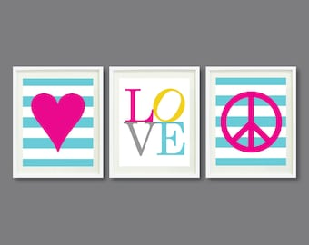 Custom Nursery-Kids Room Art Print Set of Three-8x10 OR 11x14-Heart-LOVE-Peace Sign-Aqua Blue-Pink-Yellow-Grey OR Choose Colors-Teens Room