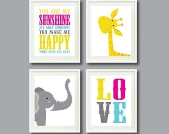 You Are My Sunshine-Set of Four Art Prints-8x10-Kids Room-Nursery-Home Decor-Pink-Yellow-Aqua-Grey-Giraffe-Elephant-Love-Modern Wall Art