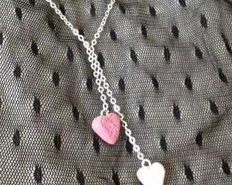 Lovely Duet Heart Dangle Necklace