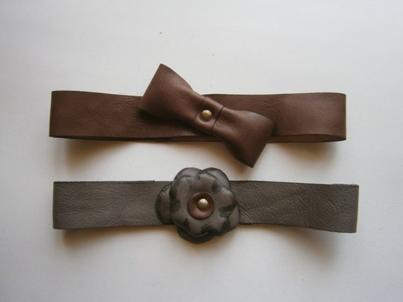 Gift Set of Two Head Bandanas, Handmade flower head bandana, leather head bandana