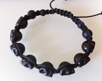 Magnesite Skull Shamballa Bracelet (KISHA-0017)