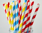 Primary Color Birthday Party: Red, Blue, Yellow Paper Straws, 100 Striped Blue Paper Straws, Super Hero Party, Boy Baby Shower ,Diy Flag