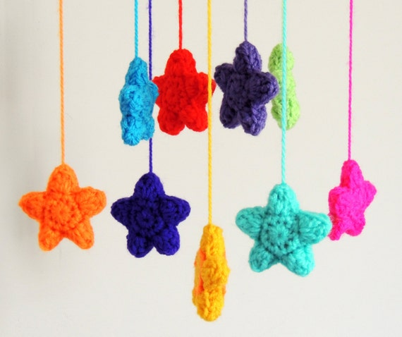 Crochet Patterns For Baby Mittens : Stars Baby Mobile Baby Shower Gift Nursery Mobile