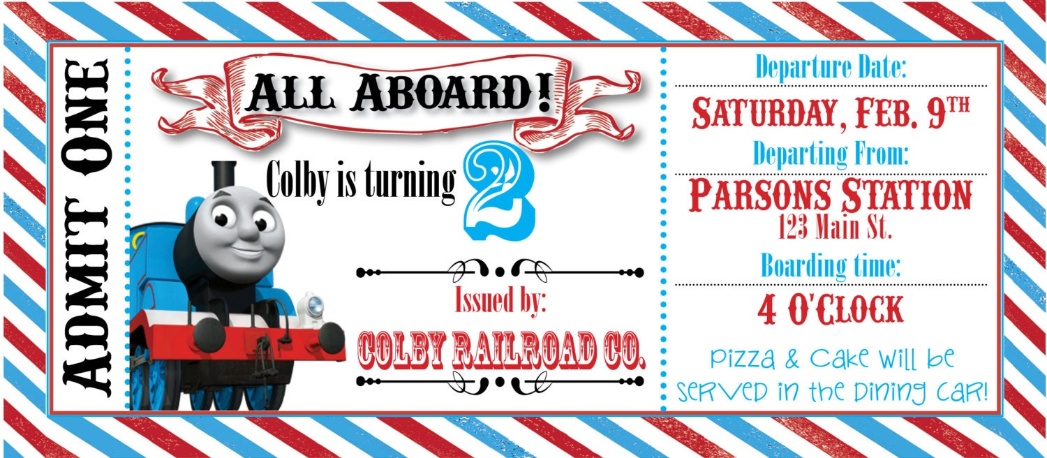 ... The Train Ticket Invitation Template Thomas The Train Party Ticket
