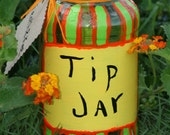Bright Yellow, Orange and Green Tip Jar - Hand Painted recycled jar change jar money jar upcycled Eco home decor - FeathandKee