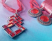 Red Rhombus Necklace Set