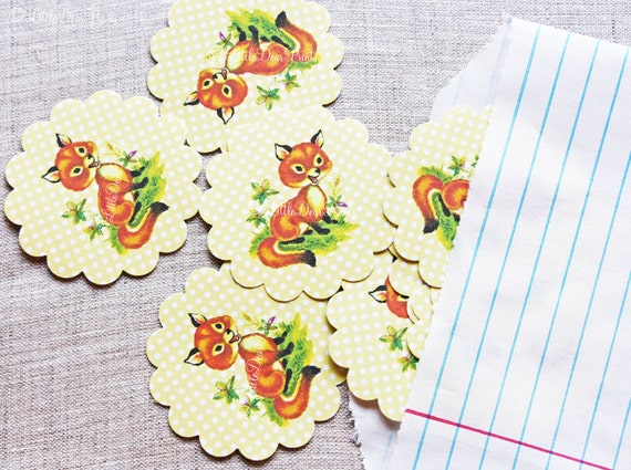 Orange Fox Stickers- 24 Vintage Style Scalloped Fox Stickers