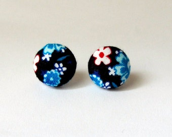 Fabric cover button earrings