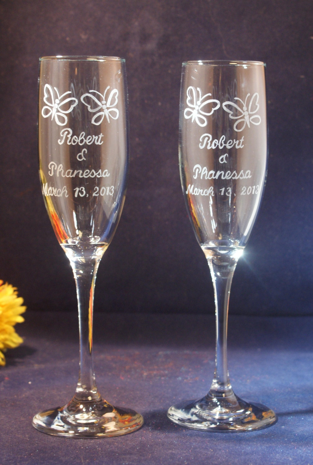 personalized wedding champagne flutes w by francesfineengraving
