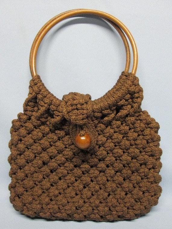 1970s Crochet Brown Purse Wooden Ring Handles