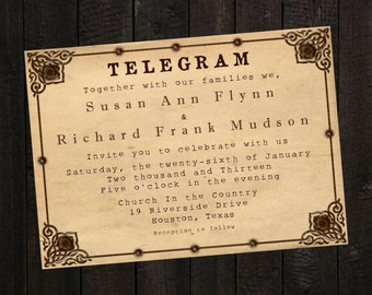PRINTABLE Wedding Invitation - Telegram Invite
