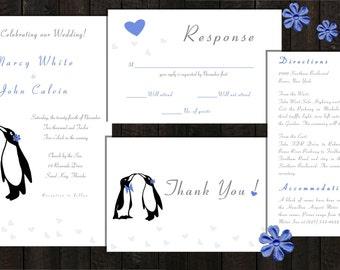Printable Wedding Invitation - Penguin Love Blue