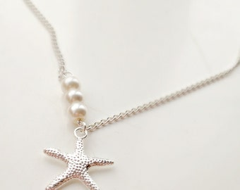 Starfish Necklace, Pearl Necklace, Silver Necklace, UK Shop, Nautical Jewelry, Bridesmaid Gifts, Layering Necklace, Beach Wedding , UK Shop