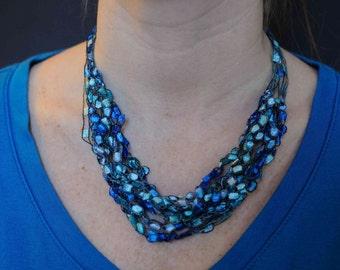 Ladder Yarn Dazzle Necklace - Ocean Blue. Great Summer Necklace.