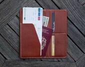 grams28 - Leather Passport & Boarding Pass holder Case /  Traveler Leather Wallet /Long Wallet Leather Passport Case, Passport Cover,