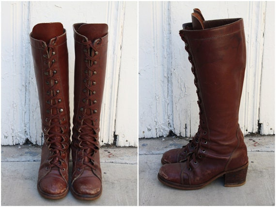 70s Leather Town and Country Lace Up Riding Boots / Size 7 7
