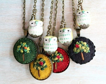 Embroidered Jewelry. Embroidered Necklace. Owl Necklace. Tree Necklace. Felt Pendant Necklace. Pendant Necklace. Cute Necklace. Owl Jewelry.