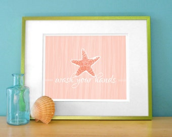 Starfish Bathroom Art / Tropical Bath Decor - Wash Your Hands in Coral, Aqua, Beige 8x10 Digital Print - Washroom Wall Art