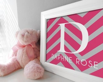Baby Girl Monogram Nursery Art Print - Custom Chevron Kids Room Wall Decor - Shown in Fuchsia Pink & Gray