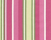 Fabric 'Mod Girls' Pink and Green Stripe Fabric 1 yard