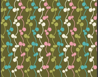 Pat Bravo Fabric 'Girly Girl' Olive Vines Art Gallery Fabrics Moss Pink Teal