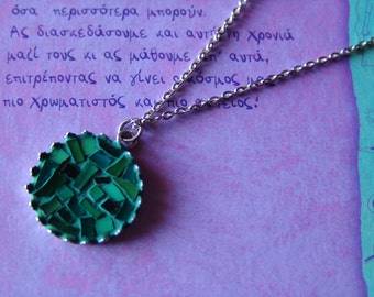 free shipping, Mosaic necklace,round stained glass jewelry, gift for her, green