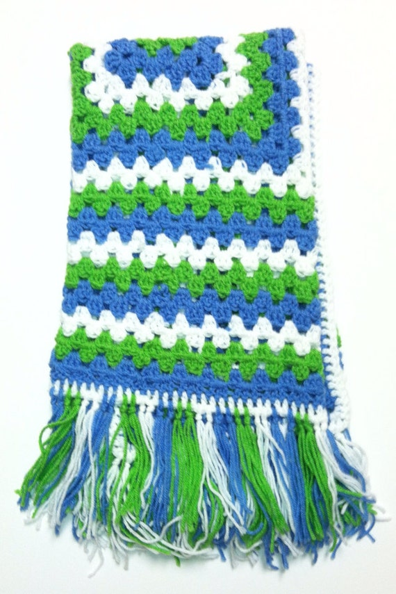 Blue and Green Boys Granny Square afghan