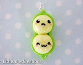 Kawaii polymer clay peas in a pod charm
