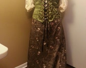 CLEARANCE -50% OFF - Olive w/ Flower detail - Free Fit Drawstring skirt
