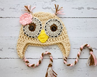 Crochet girl Owl hat photography prop infant girl hat photo prop crochet baby hat- Made to order