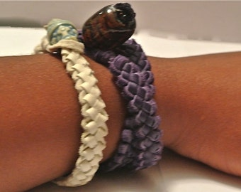 Handwoven Leather Double Wrap Bracelet- Blue, Light Brown, Green, Purple, Turquoise