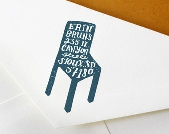 Hand Drawn Custom Address Stamp: Handmade Chair Stamp - Great for Wedding, Snail Mail, and Business Correspondence