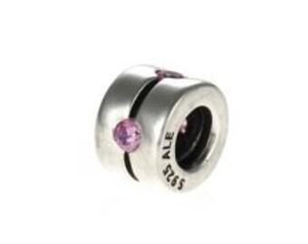 Retired Pandora Sterling Silver pink zirconia clip