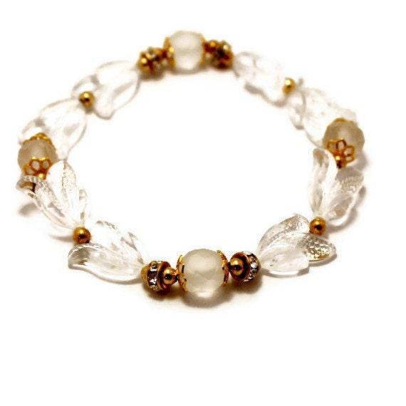 Handmade Leaf Bracelet, Vintage Bead, Clear Bracelet,  Caesar Style, Bracelet with Leaves and Rhinestones