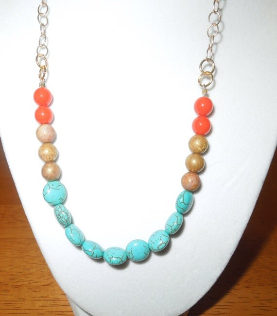 Turquoise Beaded Color Block Necklace Accented With Coral And