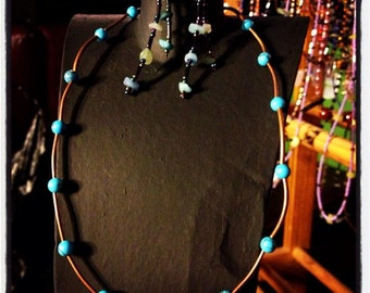 Fancy Elegant Round Turquoise Necklace with Copper Colored Spacer Tubes